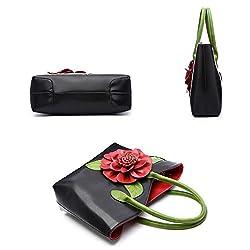 Women 3D Flower Seris PU Leather Tote Bag By Vanillachocolate (Large, Black)