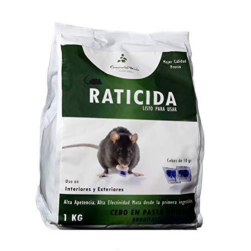COMERCIAL MIDA Raticida Potente, Veneno Anti Ratas y Ratones, Cebo Pasta Fresca, Apto Interiores Exteriores, Letal y Eficaz, Azul, Bolsa 1 Kg