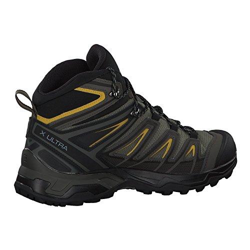 Salomon Men's X Ultra 3 MID GTX Hiking, Castor Gray/Black/Green Sulphur, 10