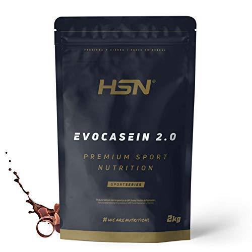 Caseína Micelar de HSN Evocasein 2.0   Proteína para Antes de Dormir, Liberación Lenta de Aminoácidos durante la Noche   Vegetariana, Sin Gluten, Sabor Chocolate, 2 Kg