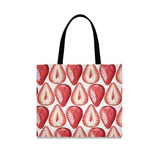 ALARGE Bolso de lona con diseño de fresas y fruta, grande, informal, para ir de compras, con asas de longitud para mujeres y niñas