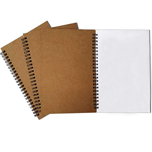 Spiral-Notizbuch, 3 Stück, dickes Blanko-Papier, 120 Seiten, Skizzenbuch, Notizblock und Tagesplaner (Khaki)
