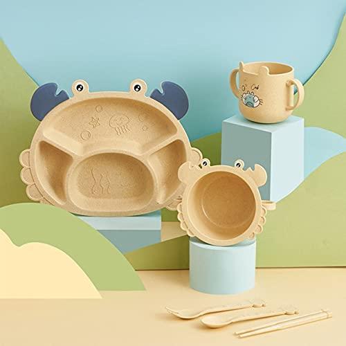 PPuujia Plato de bebé bebé dinosaurio vajilla 6 piezas juego de platos para cena para niños, rejilla creativa para el hogar, dibujos animados respetuosos con el medio ambiente (color: 12)