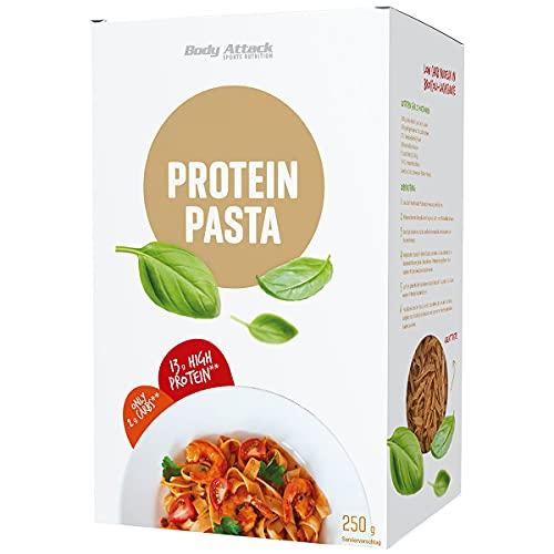 Body Attack Fitness Protein Pasta, 250g Packung - 65g Protein auf 100g und 10g Kohlenhydrate - leckere High Protein Nudeln, inkl. gratis Kochrezept (auf der UVP.), Made in Germany