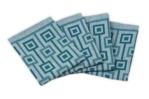 myHomery Geschirrhandtücher - 4er Set Handtücher 100% Baumwolle - Dobby-Design - Trockentuch für Küche & Gastronomie - Küchenhandtücher modern- Petrol 4er Set 50x70