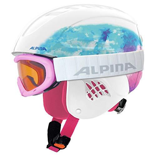 Alpina Sports Unisex Jugend Carat Set Skihelm, Weiß, 51-55