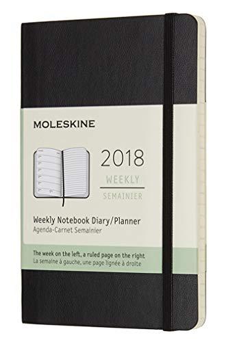 Moleskine 2018 12 Month Weekly Planner Pocket (3.5 x 5.5'), Black,...
