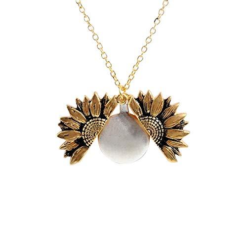925 dames ketting sieraden, dames gouden ketting op maat je bent mijn zonneschijn open kleine doos zonnebloem zonnebloem hanger ketting sieraden cadeau, s925 sterling zilveren ketting