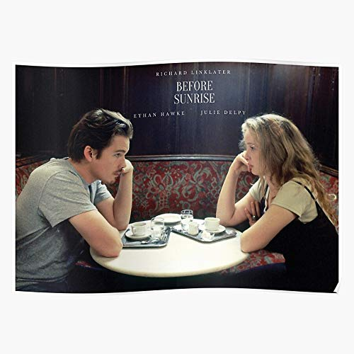 Midnight Ethan Movies Julie Sunrise Richard Linklater Before Trilogy Hawke Delpy Sunset Regalo para la decoración del hogar Wall Art Print Poster 11.7 x 16.5 inch