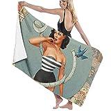 If Not Pin-Up Girl Toalla de Playa Toalla de baño De Gran tamaño Suave para Uso Diario Deportes al A...