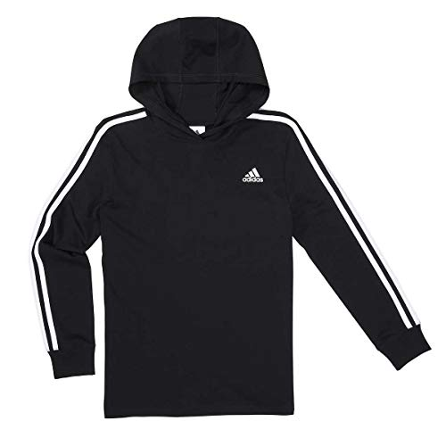 adidas Youth 3 Stripe Hooded Tee (Black, X-Large)