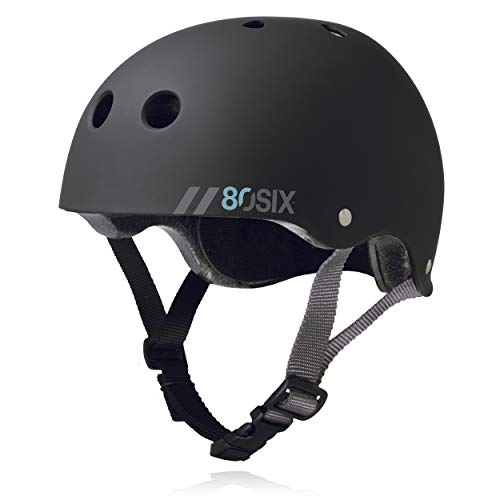 80Six Dual Certified Kids' Bike, Scooter, and Skateboard Helmet, Black Matte, Medium / Large - Ages 14+