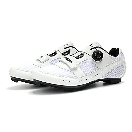 CHUIKUAJ Zapatillas de Ciclismo para Hombre Mujer Cordón de Zapatos con Tacos Compatibles Peloton con Zapatillas de Bicicleta con Pedal SPD y Delta Lock,White-47EU