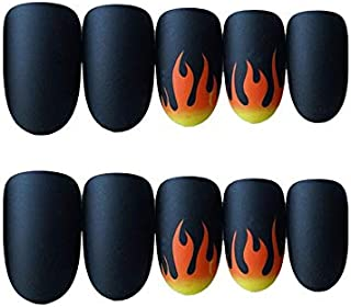 JINDIN 24 Sheet Black Matte Fake Nails with Glue Acrylic False Nail Full Cover Oval Fake Nail Tips Press on Nails for Women Manicure Art