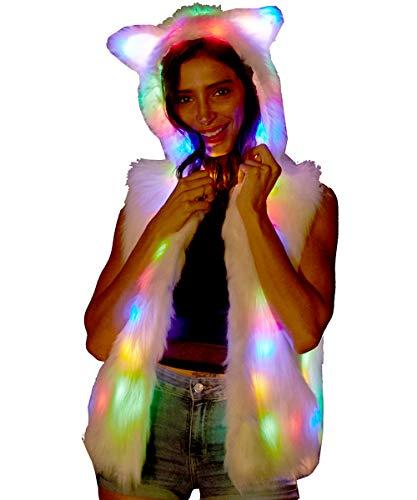 New Women Light Up Faux Fur LED Bear Ear Hoodies Vest Jacket Stage Rave Costume Bithday Party Xmas Fancy Dress (2XL) White