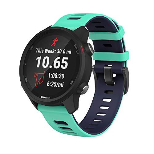 Pulseira extra para Garmin Forerunner 245/645 Music/Vivomove/Vivomove HR and Active 3 (Verde com Azul)