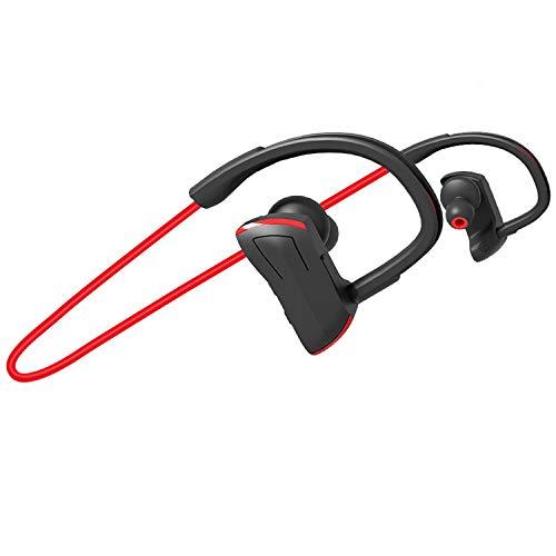 2020 Bluetooth Earbuds for Running, Pottnar Gym Headphones Waterproof IPX7, Hi-Fi Bass Stereo Earphone, CVC8.0 Noise Cancelling Wireless Sport Headphones (Red)