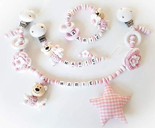 Kinderwagen ketting met naam - Gift voor de doop, geboorte (set - kinderwagen, fopspeenketting, grijpen, roze, wit, haakbloemen)