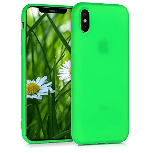 kwmobile Cover Compatibile con Apple iPhone XS - Custodia in Silicone TPU - Backcover Protezione Posteriore- Verde Fluorescente