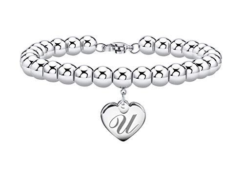 Initial Bracelet for Women Heart Tag Bead Bracelet Letter U Bracelets Birthday Gifts