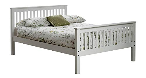 White wood bed frame.High foot board end.Wooden.3ft single,4ft small double,4ft6 double,5ft King size.Pure bright white bedstead.Shaker style (4ft Small Double, Bed Frame + Ortho Firm Mattress)