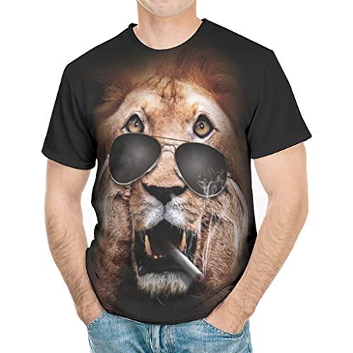 T-HGeschäft Camiseta deportiva para hombre con diseño de león y gafas de sol blanco XL