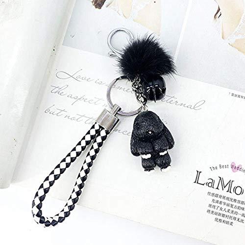 QWERTYU Pokemon Fluffy Fur Ball Key Chains for Women Bags Pendant Decoration Keyring Fashion Kids Easter Gifts,black
