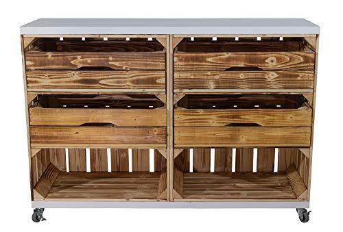 Truhenking Regal aus Zwei geflammten Kisten hoch mit 2 Schubladen und Bohlenbrett in Weiß, auf Rollen 72x100x31cm Obstkisten Weinkisten