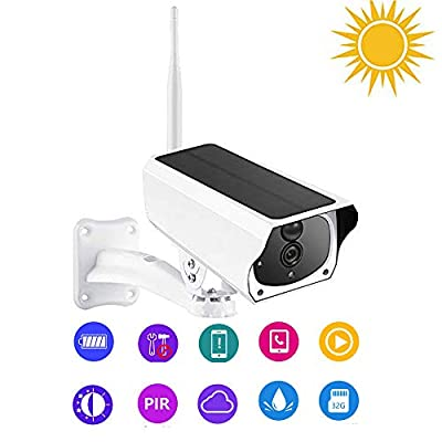 SUNGLIFE Outdoor Solar Battery Powered Security Camera, 2.4GHz WiFi Wireless Home Security Camera, Night Vision,Motion Detection,Rechargeable Battery, Two-Way Audio, IP66 Waterproof
