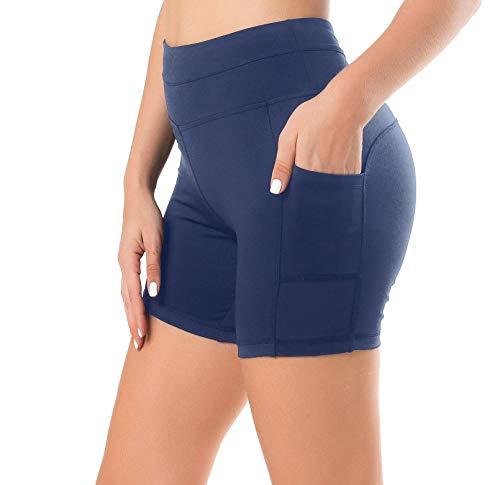 Sudawave Sudawave Damen Mesh Radlerhose Kurze Leggings Yogahose Sporthose Shorts mit Taschen für Fitness (Dunkel Blau, Large)