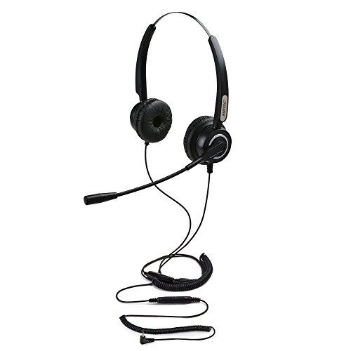 AGPtek Universal de teléfono Centro de Llamadas Manos Libres Auriculares binaurales para teléfono móvil, Mejor Calidad de Sonido con cancelación de Ruido Mic + 3,5 mm QD + Volumen Mute, Negro