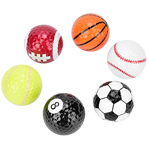 Alomejor 6 stks Novelty Golf Ballen Basketbal Voetbal Volleybal Patroon Golf Bal Dubbele Laag Bouw Golf Ballen Gift