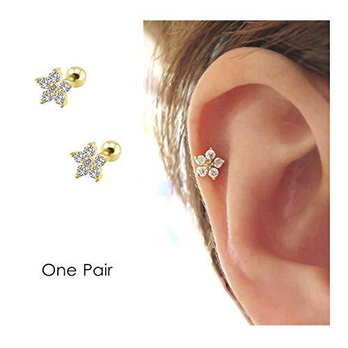 Flower Cartilage Earring CZ Stud Mini Earrings Small Tragus Earring Dainty Barbell Ear Helix Conch Rook Piercing for Women Girls