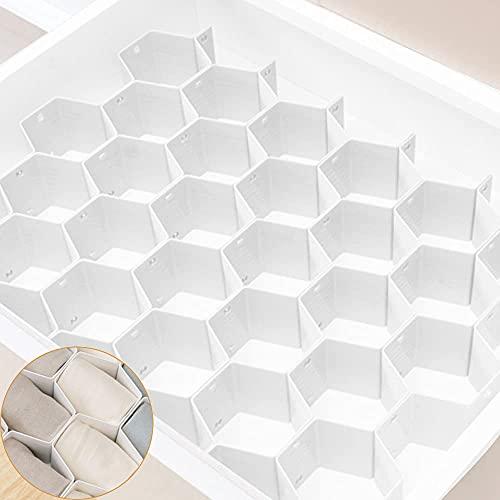 Xnuoyo 8 Unids Honeycomb Closet Organizador Divisores de cajón de plástico Ajustable DIY Separador de Armario Blanco Organizador para la Ropa Interior Calcetines Bras Pañuelos Cinturo