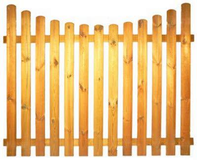 StaketenZaun 'Standard' 180x140/120 cm - unten – kdi / V2A Edelstahl Schrauben verschraubt - aus frischem Holz gehobelt – nach unten gebogene Ausführung - kesseldruckimprägniert