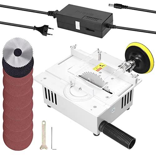 Tornos de potencia T1 Mini Sierras eléctricas Mesa eléctrica Sierra pequeña casa Bricolaje Máquina de corte de la máquina de corte de madera con un collar de 1.5-10 mm Conjunto de herramientas