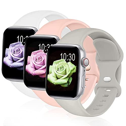 Sichy Correa Compatible con Apple Watch 44 mm 40 mm 38 mm 42 mm, Correas de muñeca de Repuesto de Silicona compatibles con iWatch Series 6/5/4/3/2/1 /SE,44mm/42mm S/M,Blanco/Rosa Arena/Gris