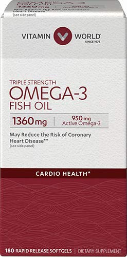 Vitamin World Triple Strength Omega-3 Fish Oil 1360 mg 180 softgels, 950 Active Omega-3, Heart Health, Cardio Support, Rapid-Release, Gluten Free
