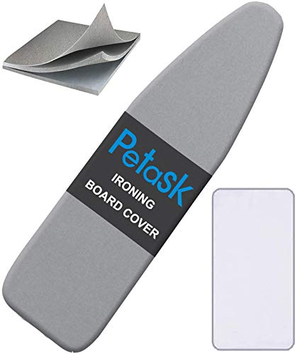 Petask Ironing Board Cover and Pad, Silicone Coated Resists Scorching and Staining Ironing Board Pads with Elastic Edges, 15'x54' Gray
