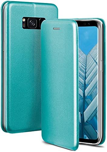 ONEFLOW Handyhülle kompatibel mit Samsung Galaxy S8 - Hülle klappbar, Handytasche mit Kartenfach, Flip Hülle Call Funktion, Leder Optik Klapphülle mit Silikon Bumper, Mint Blau