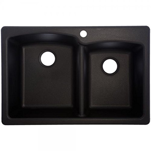 Review Of Franke Ellipse 33 Dual Mount Granite Offset Double Bowl Kitchen Sink, Onyx