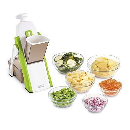 Cortador de mandolina Dash Safe Slicer, Julienne + Dicer para verduras, preparación de comidas y más con más de 30 presets y ajuste de grosor, color verde