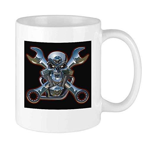 N\A Lustige Kaffeetasse Motorhead Schädelschlüssel Getriebekanne Einzigartige Keramik Neuheit Männer & Frauen, die Teetassen & Kaffeetasse 11oz lieben