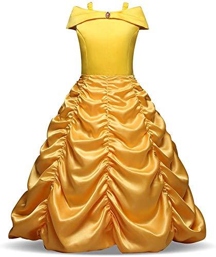 Afittel0 Vestido Princesa, Niña ' Princesa Bella Disfraces Princesa Disfraz, Niña Aurora Bella Durmiente Disfraz Halloween Vestido Cosplay Vestido - 12#, 110cm