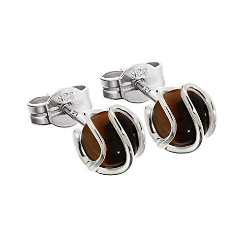 NKlaus coppia argento argento coppia di orecchie a sfera borchie 925 sfera in argento sterling vero occhio di tigre 7mm signore 7855