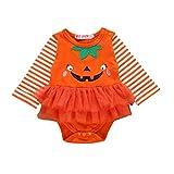 Body Bambino Halloween Costume Bambina, Gonna Tulle da Ragazza Vestito Bambina Abito di Principessa Bambini Pagliaccetto Neonato Tutina Elegante Tutine Invernali/Arancione, 0-6 Mesi