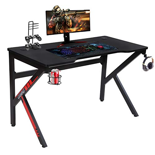 Aneken 47.2 Inch Gaming Desk, K-Shaped Gaming Table Home Office PC Computer Desk with Cup Holder, Headphone Hook and USB Gaming Handle Rack, Ergonomic Gamer Workstation for Gaming and Writing, Black