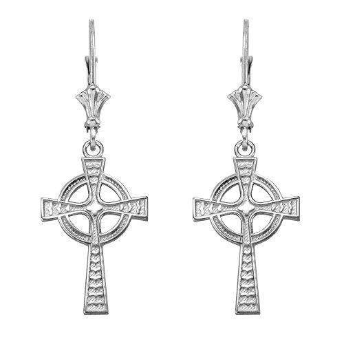 Celtic Cross Leverback Dangle Earrings 925 Sterling Silver