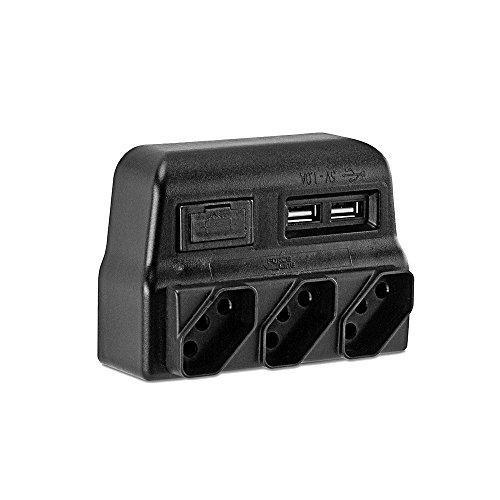 Protetor Elétrico Tripolar com Carregador USB, Force Line, 0180100021, Acessórios para Computador, Preto
