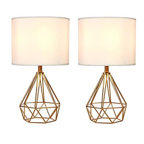 Ruitx Ausgehöhlte Basis Moderne Lampe Schlafzimmer Wohnzimmer neben geometrischen Tischlampe, 16